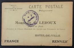 CP Accusé-Réception COLIS PRISONNIER DE GUERRE OEUVRE MUNICIPALE SECOURS RENNES Camp De GIESSEN PG De BOIRY-NOTRE-DAME - Marcophilie (Lettres)