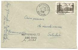 H418 - Franchise Postale Partielle MUTTERSHOLZ - Octobre 1948 - Type NANCY - Recommandé Tarif 25 Au Lieu De 35 Francs - - Marcophilie (Lettres)