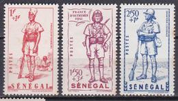 Sénégal Défense De L Empire Tirailleur Bambara Infanterie Coloniale 1941 N°170-171-172 Neuf* Charnière - Nuevos