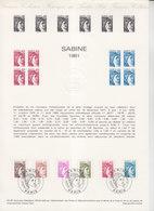= Sabine De Gandon, Collection Historique Du Timbre Poste 1er Jour Paris 10.1.81 N°2118 2119 2120 2121 2122 2123 - Documents Of Postal Services
