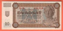SLOVAQUIE Billet 20 Korun 11 09 1942 Pick 7s SPECIMEN - Slowakei