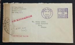 Enveloppe De NEW YORK Vers NICE Avr 1941 Cachet S.S. EXCAMBION Bande Censure Française WI 411 + Bande Censure Allemande - Poststempel (Briefe)