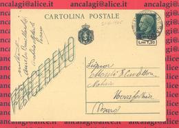 "LuogoT. 002D - LUOGOTENENZA 1945 - ""Cartolina Postale Da L.15 ""Vitt. Em. III"" Soprastampata In Lire1,20 - - Storia Postale"