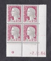 FRANCE  Y&T N 1263 ** Coin Daté Du  02 12 1964 - Ecken (Datum)