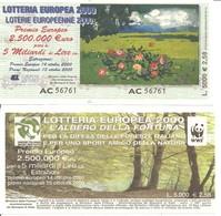 2000 - Biglietto LOTTERIA EUROPEA L'ALBERO DELLA FORTUNA - Retro Con Loghi UISP E WWF (Panda) - Biglietti Della Lotteria
