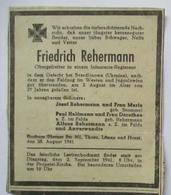 Todesanzeige Soldat Aus Bochum 1941 + Gefehei Sverdlinowa Ukraine (37893) - Militaria