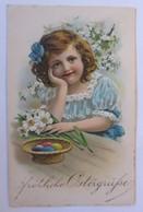 Ostern, Kinder, Mode, Korb, Ostereier, Osterglocken, 1909, Prägekarte ♥ (52428)  - Easter