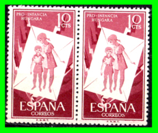 ESPAÑA PAREJA DE SELLOS AÑO 1956 PRO INFANCIA HUNGARA VALOR 10 Ctms. ( NUEVOS ) - 1951-60 Nuovi