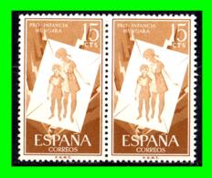 ESPAÑA PAREJA DE SELLOS AÑO 1956 PRO INFANCIA HUNGARA VALOR 15 Ctms. ( NUEVOS ) - 1951-60 Nuovi