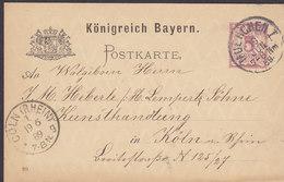Bayern Postal Stationery Ganzsache Entier (89) MUENCHEN München 1889 KOLIN Köln CÖLN Rhein (Arr.) (2 Scans) - Stamped Stationery