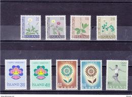 ISLANDE 1964 Yvert 333-334 + 336-342 NEUF** MNH - Neufs