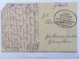 GERMANY - 1940 Feldpost Postcard With CALW STUTTGART BAHNPOST Mark - Deutschland