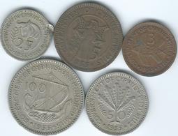 Cyprus - 1955 - Elizabeth II - 3, 5, 25, 50 & 100 Mils (KMs 33-37) - Cyprus