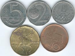 Czech Republic - 1 (1994 - KM7) 2 (1993 - KM9) 5 (1993 - KM8) 10 (1996 - KM4) & 20 Korun (1998 - KM5) - Repubblica Ceca