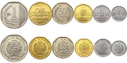 PERU - Pérou - Perù 6 COINS SET 1 - 5 - 10 - 20 - 50 CENTIMOS + 1 NUEVO SOL 2007 2011 1014 UNC - Pérou