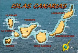 1 Map Of Spain * 1 Ansichtskarte Mit Der Landkarte - Die Kanarischen Inseln * - Cartes Géographiques