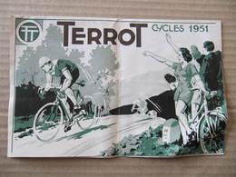 CATALOGUE DEPLIANT   TERROT - CYCLES 1951 - Dépliant 4 Volets. Format : 21 X 13,5 Cm - Motos
