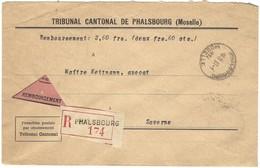 Autoplan / Horoplan PHALSBOURG / MOSELLE Sur Lettre Recommandée Contre Remboursement En Franchise - Type 239 - 23.1.1934 - Marcophilie (Lettres)