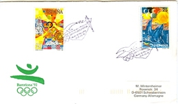 SPAIN Olympic Cover With Olympic Stamps With Olympic Handcancel Palma De Mallorca In Violet - Summer 1992: Barcelona