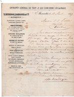 EGYPTE - Facture 1877  - V.HUBIDOS, DARGON & Cie à ALEXANDRIE - Factures & Documents Commerciaux