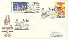 SPAIN Olympic Cover With Olympic Stamps With Olympic Handcancel VIC With Cobi Playing Roller Hockey - Summer 1992: Barcelona