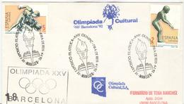 SPAIN Cover With Olympic Stamps With Olympic Handcancel And Different Cachet Olimpiada Cultural - Summer 1992: Barcelona
