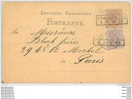 67 STRASBOURG STRASSBURG. Carte Correspondance Pour Bloch à Paris  Vers 1877-1887 - Alsace-Lorraine