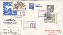 SPAIN Cover With Olympic Stamps With Olympic Handcancel And Different Cachets Olimpiada Cultural Also Backside - Summer 1992: Barcelona