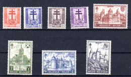 Belgique 1951, Châteaux, Croix De Lorraine Et Dragons, 868 / 875*  Castelli  Castels, Schlossen - Nuovi