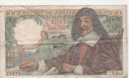 1 Billet De 100 Francs Descartes - 100 F 1942-1944 ''Descartes''