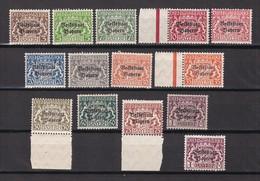 Bayern - Dienstmarken - 1919 - Michel Nr. 30/43 - Postfrisch/Ungebr. - Bayern