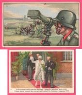 2 Chromos - Reine ASTRID Visite Les Chantiers COCKERILL à Hoboken - 1929 - Militaire - Tank - TREFIN - Chromo - Confectionery & Biscuits