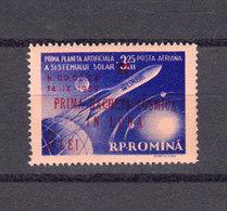 Roumanie 1959 Poste Aerienne Yvert 101 ** Neuf Sans Charniere Lunik II Surcharge En Rouge. - Neufs