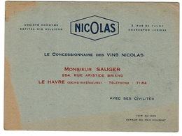 Carte NICOLAS  LE HAVRE Avec Extrait Du Prix Courant - Dim: 14 X 10,4 Cm - Visitekaartjes