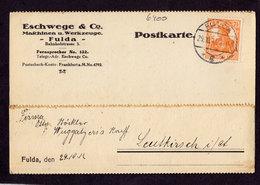 Deutsches Reich Postkarte - Mi.99 FULDA - Leutkirch - 29.10.17 Maschinen U. Werkzeuge - Deutschland