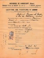 """1934 - GREVIERES De VARISCOURT (02) LETTRE DE VOITURE -  Connaiss. Bateau """"Dahlia"""" Pour RETHEL - Historische Dokumente"""