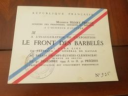 CARTON INAUGURATION EXPOSITION LE FRONT DES BARBELES CHARLES DE GAULLE 31/12/ 1944 HENRY FRENAY  PRISONNIERS DE GUERRE - 1939-45