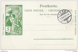 39 - 3 - Entier Postal UPU Non Circulé Avec Cachet à Date Thun 1900 - Entiers Postaux