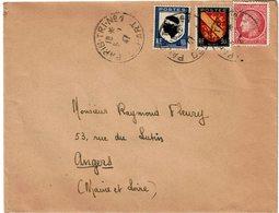 CTN61/C - BLASONS + MAZELIN SUR LETTRE PARIS TRI N°1 5/3??/1947 - France