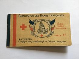 Rare Carnet De Timbres Croix Rouge Française Pour Les Blessés Effigie Des Chefs 1914-18 - 1914-18