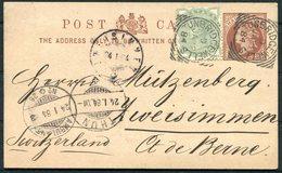 1884 Uprated Stationery Postcard.Tunbridge Wells,Square Circle -Zweisimmen Switzerland Via Thun, Ambulant 26,Railway TPO - 1840-1901 (Victoria)