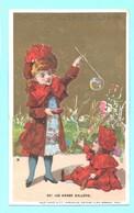 Jolie Chromo Chocolat Guérin-Boutron. Fillettes. Oh! Les Beaux Ballons. Fond Doré. Imp. Vallet-Minot. - Guerin Boutron