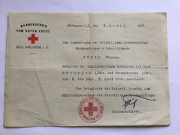 Document Allemand Croix Rouge Hôpital Militaire De Mulhouse 1918 1914-18 - 1914-18