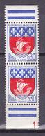 N° 1354B A Armoiries De Villes: Paris: Belle Paire De 2Timbres Neuf Impeccable Provenace Carnet - France