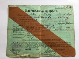 Document Allemand Carte Laisser Passer  Hôpital Militaire De Mulhouse 1918 1914-18 - 1914-18