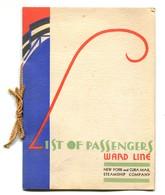 Liste Des Passagers Du Paquebot Morro Castle De La Ward Line - Traversée Du 1/10/1933 + Menu Du 9 Octobre - Vieux Papiers