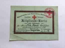 Carte Ausweis Allemand Laisser Sanitats Kolonne Croix Rouge Mulhouse 1914 1914-18 - 1914-18
