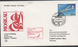 3494 Carta   Aérea, 1º Vuelo,First Flight , Avión  Lufthansa  , Moskau--Frankfurt Airbus A310 , 1983, - 1923-1991 URSS
