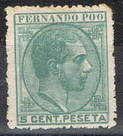 Sello 5 Cts Alfonso XII, FERNANDO POO, Colonia Española 1879, Edifil Num 2 * - Fernando Poo