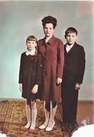 1960 Children Enfants School Girl Boy Teen W Mam  - Fille Garçon Maman VINTAGE Soviet Russian Early Color Photo - Anonymous Persons